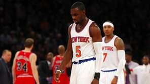 Tim Hardaway Jr. and Carmelo Anthony of the