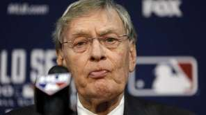 Baseball commissioner Bud Selig speaks at a news