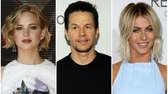Photo collage of Jennifer Lawrence, Mark Wahlberg and