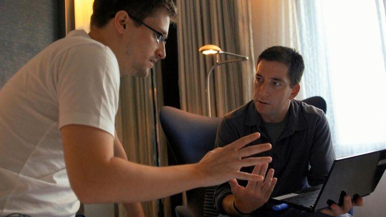 Edward Snowden and Glenn Greenwald in Hong Kong