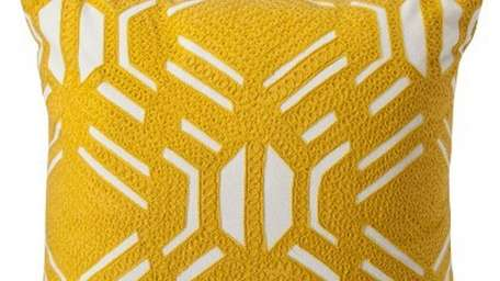 This yellow-patterned occasional pillow could be a bold