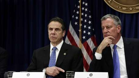 New York Governor Andrew Cuomo speaks as New