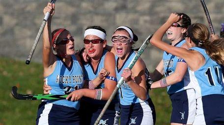 Rocky Point's Jenna Sanossian celebrates her first goal