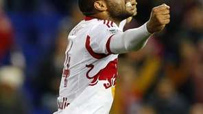 Red Bulls forward Thierry Henry reacts after defeating