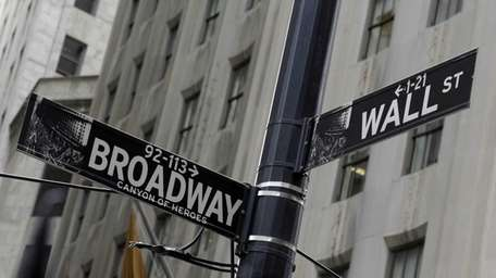 Street signs mark the corner of Broadway and