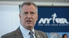 New York City mayor Bill de Blasio talks