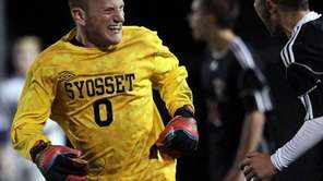 Syosset goalie Matt Parker celebrates after teammate Matt