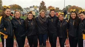 Senior cheerleaders at West Babylon High School's homecoming