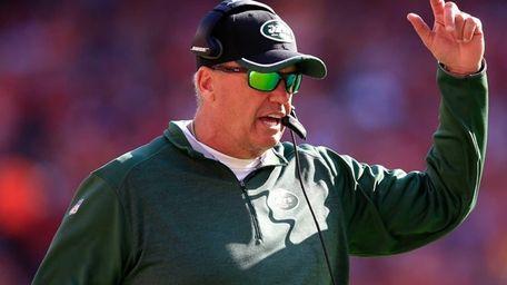 New York Jets head coach Rex Ryan looks