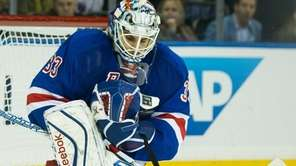 New York Rangers goalie Cam Talbot (33) makes