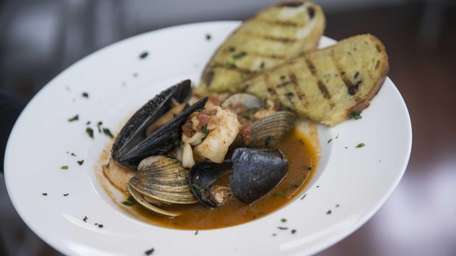 Seafood guazzetto, a brothy stew, is an aromatic
