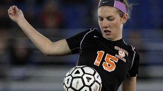 Hicksville's Melissa Adamo controls the ball outside her