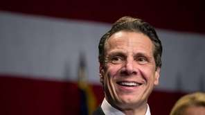 Gov. Andrew M. Cuomo speaks as supporters gather