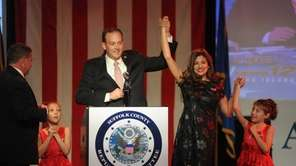 State Sen. Lee Zeldin (R-Shirley), with his wife,