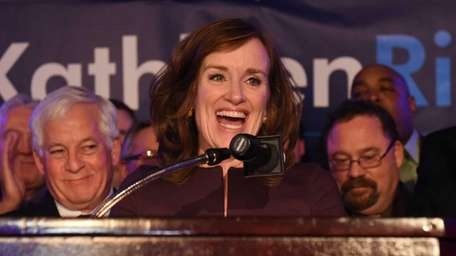 Democrat Kathleen Rice speaks to supporters at the