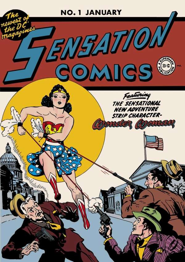 The cover of a vintage Wonder Woman comic