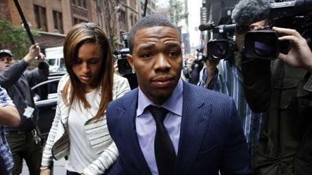 Ray Rice arrives with his wife Janay Palmer