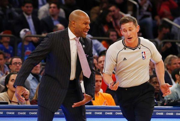 Derek Fisher of the New York Knicks argues