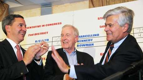 From left, Republican state Sens. Jack Martins, Kemp