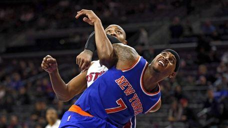 Knicks forward Carmelo Anthony and Detroit Pistons forward
