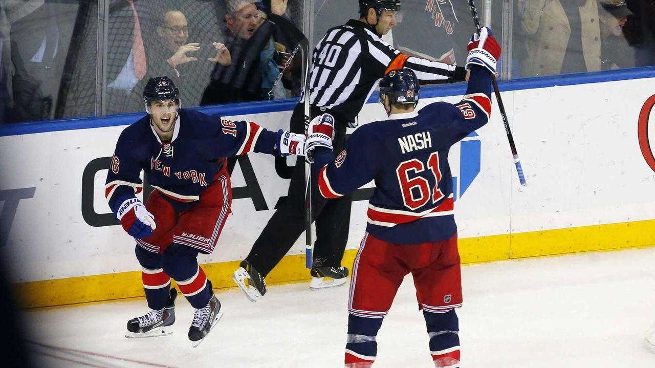 Derick Brassard of the New York Rangers celebrates