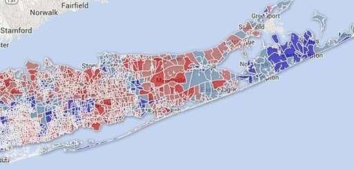 This map shows the Long Island election districts