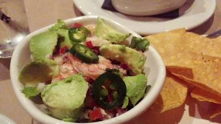 Ceviche with warm tortilla chips served at Bonefish