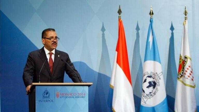 Interpol Secretary General Ronald K. Noble, addresses members