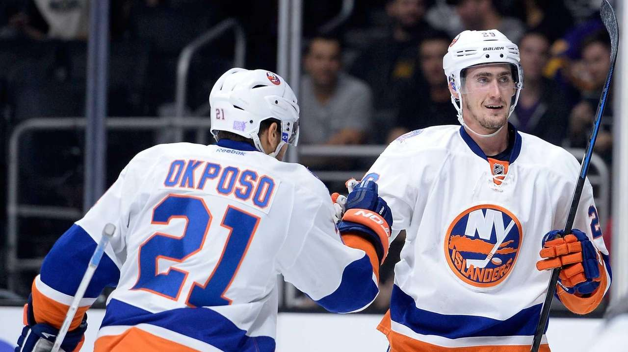 Brock Nelson of the Islanders celebrates his goal