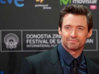 Australian actor Hugh Jackman poses at the photocall