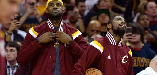 LeBron James and Kyrie Irving of the Cleveland