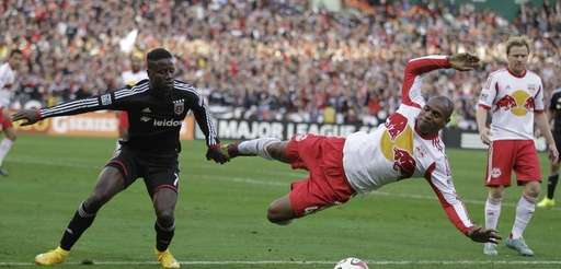 DC United's Eddie Johnson grabs Red Bulls' Jamison