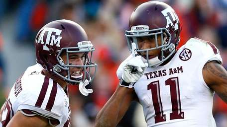 Josh Reynolds of the Texas A&M Aggies reacts