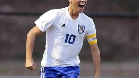 Mattituck's Paul Hayes reacts to scoring a goal