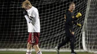 Southold's Shayne Johnson reacts after missing a penalty