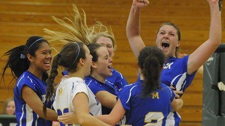 Mattituck's Emilie Reimer (arms raised) and teammates celebrate