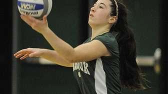 Lynbrook's Stephanie Milillo serves during the second set