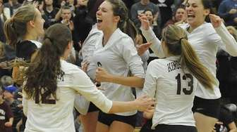 Kings Park's Jaclyn Wilton, center, and teammates celebrate