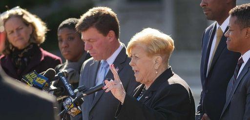 Nassau Legis. Judy Jacobs speaks on the steps