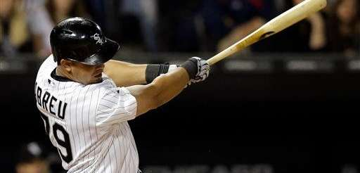 The Chicago White Sox's Jose Abreu hits a