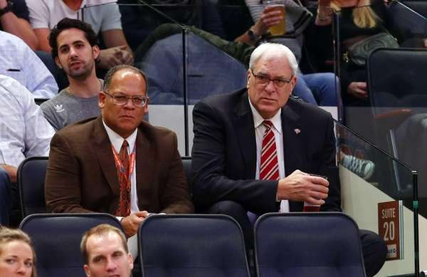 New York Knicks president Phil Jackson looks on
