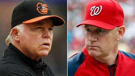 Baltimore Orioles manager Buck Showalter, left, and Washington