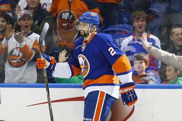 Nick Leddy of the New York Islanders celebrates
