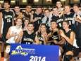 The Sachem North boys volleyball team celebrates their