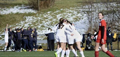 The Massapequa girls soccer team celebrates after Hope