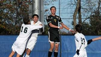 Commack's Justin Ceboller beats the Shenendehowa defense to