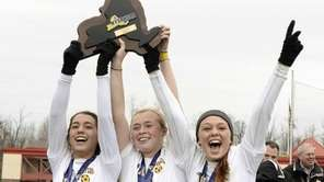 From left, Massapequa's Olivia Stegner, Mackenzie Palmer and