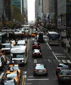 Cars on a Manhattan Street on November 7,