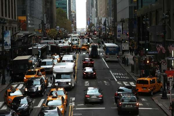 Cars on a Manhattan street.
