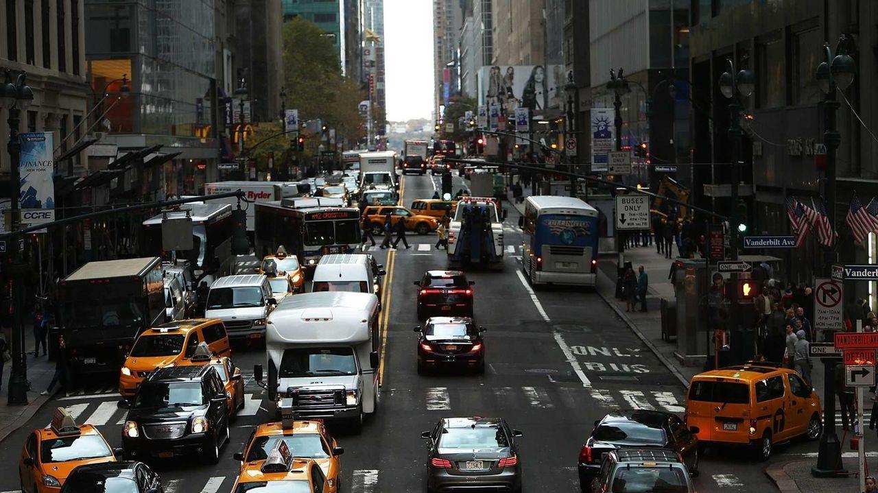 Cars on a Manhattan street.